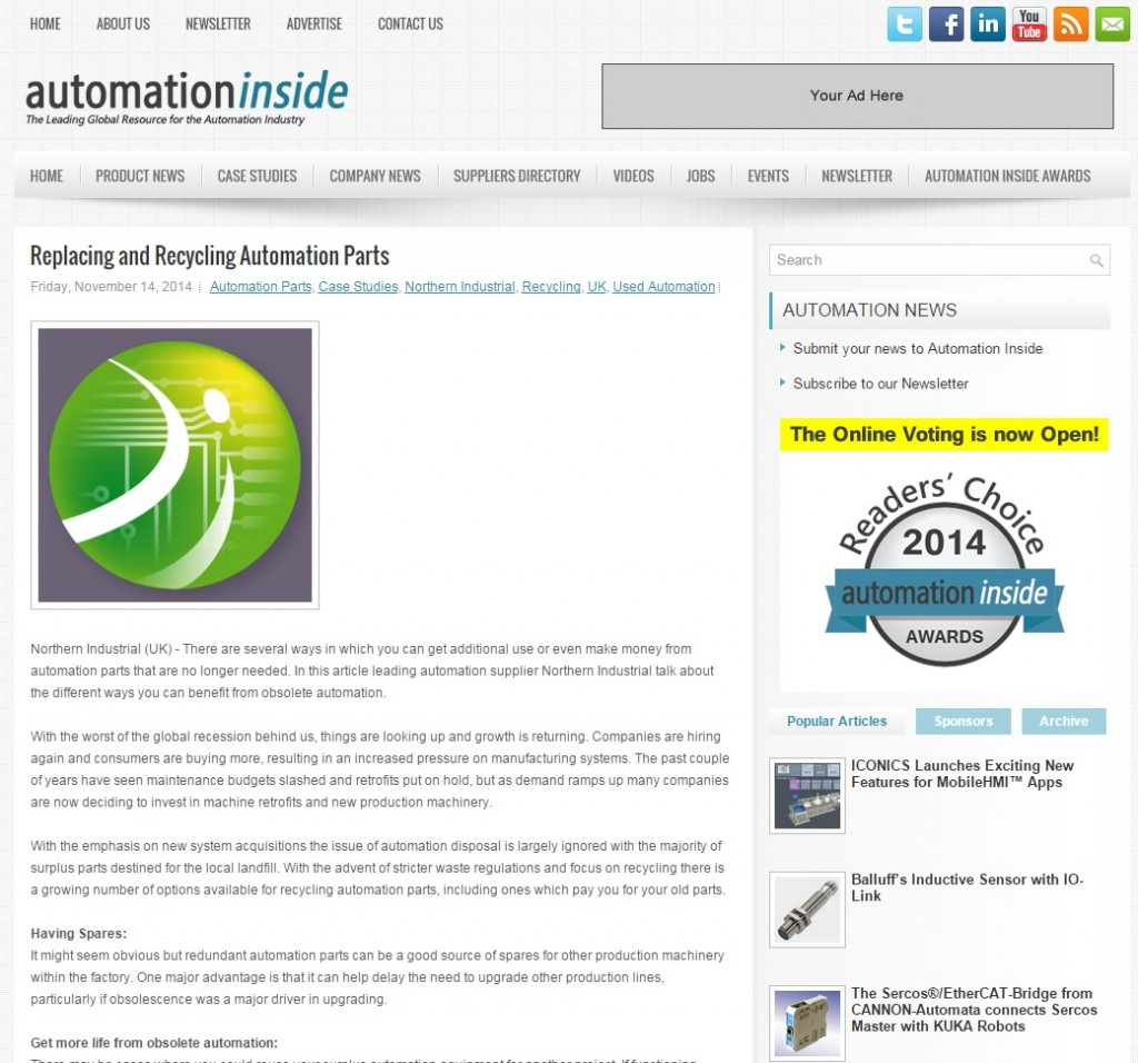 Northern Industrial Featured on Automation Inside